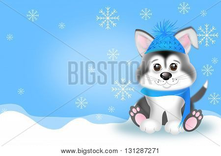 Cute illustration of siberian husky puppy in winter