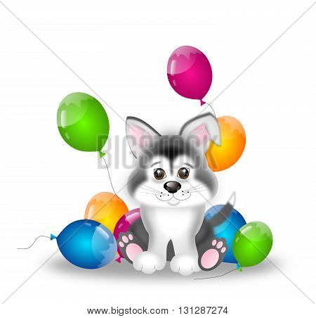 Cute illustration of siberian husky puppy with party balloons