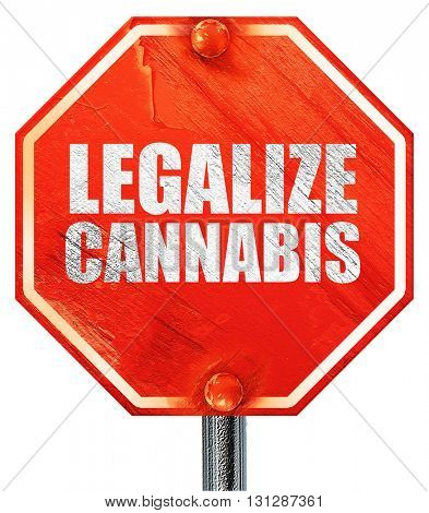 legalize cannabis, 3D rendering, a red stop sign