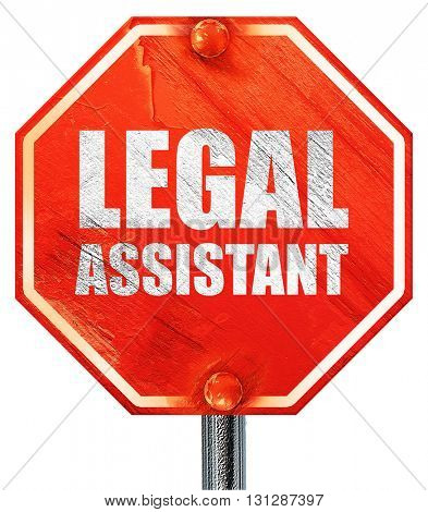 legal assistant, 3D rendering, a red stop sign