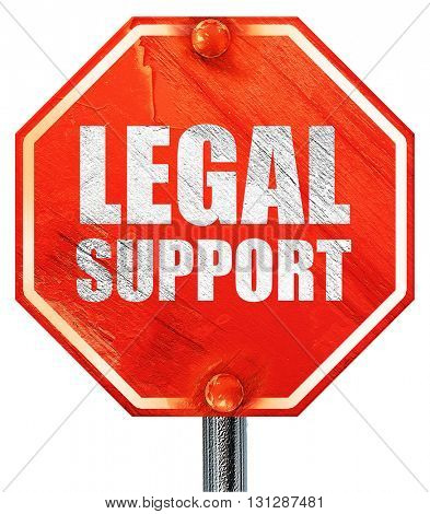 legal support, 3D rendering, a red stop sign