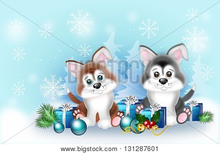 Cute illustration of two puppies with christmas decoration