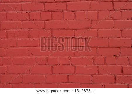 Background from Old Brick Wall Freshly Painted in Red with Ocher Tone Color