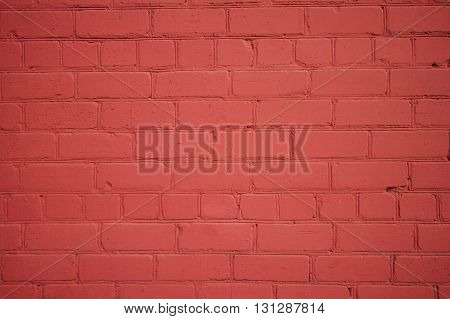 Background from Freshly Painted Old Brick Wall with Vignette