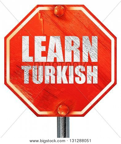 learn turkish, 3D rendering, a red stop sign