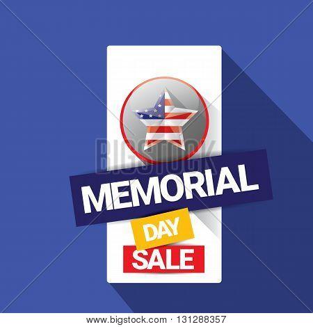 vector memorial day sale banner. memorial day sale label.