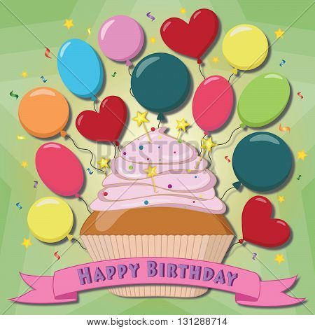 Vector greeting card with the cupcake and balloons.