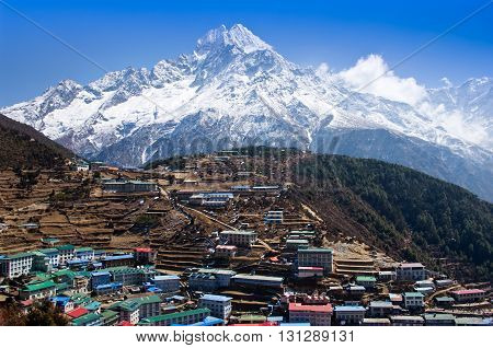 View On Namche Bazar, Khumbu District, Himalayas. Nepal