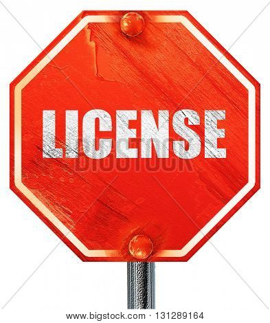 license, 3D rendering, a red stop sign