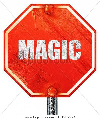 magic, 3D rendering, a red stop sign