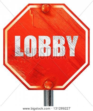 lobby, 3D rendering, a red stop sign