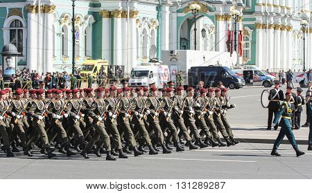 St. Petersburg, Russia - 9 May, Marsh soldiers in crimson berets, 9 May, 2016. Festive military parade on the Palace Square in St. Petersburg.