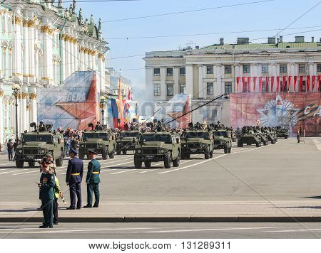 St. Petersburg, Russia - 9 May, Division light armored vehicles,  9 May,2016. Festive military parade on the Palace Square in St. Petersburg.