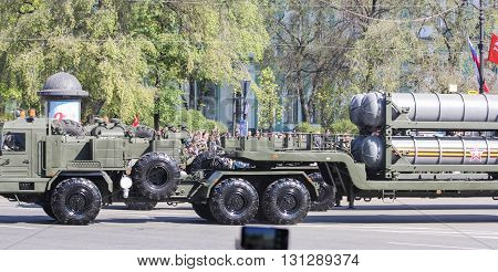St. Petersburg, Russia - 9 May, The heavy military truck with a trailer, 9 May, 2016. Festive military parade on the Palace Square in St. Petersburg.