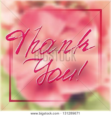 Grateful card with hand written lettering Thank You on natural pink floral phlox blurry background. Vector illustration