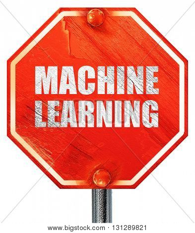 machine learning, 3D rendering, a red stop sign