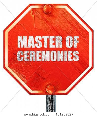 master of ceremonies, 3D rendering, a red stop sign