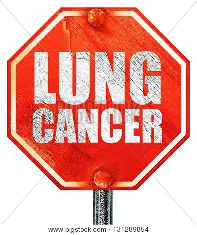 lung cancer, 3D rendering, a red stop sign