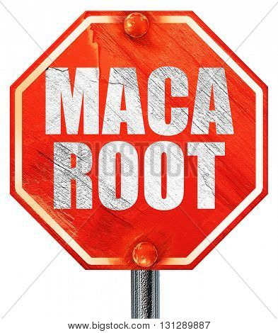 maca root, 3D rendering, a red stop sign