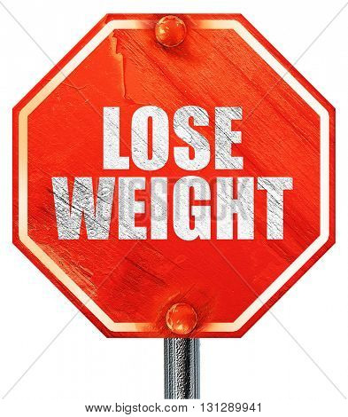 lose weight, 3D rendering, a red stop sign