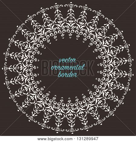 Vector round decorative border oriental style. Ornate frame design element and illusrator pattern brush.