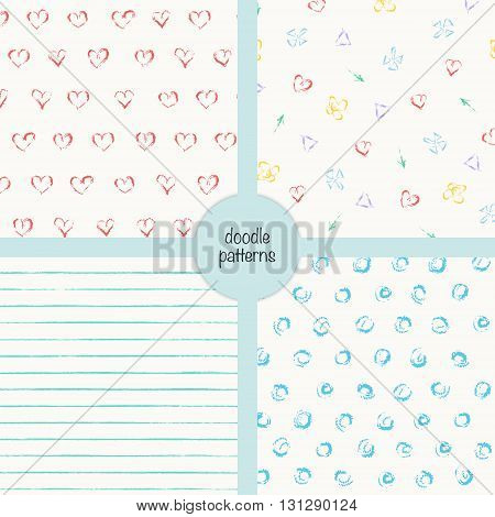 Vector doodle seamless patterns. Background design set of four. Pastel colors illustration. Stripes hearts arrows flowers dots. Naive style.