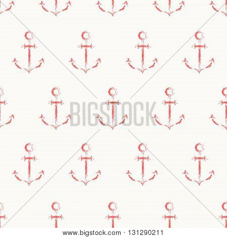 Vector seamless pattern. Grungy sketch illustration. Nautical sea background. Rows of red anchors on white background.