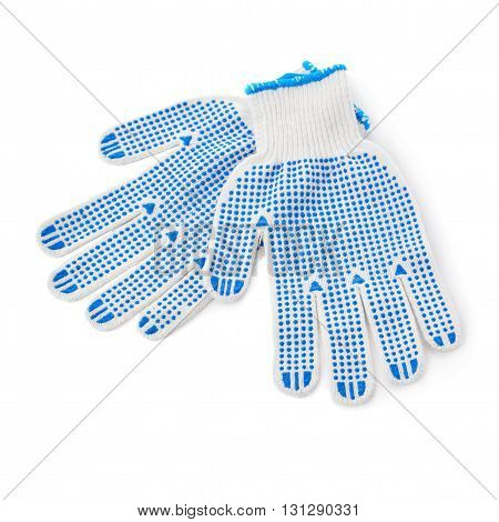 Pair of Blue Working gloves over isolated white background