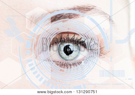 Close-up Eye With Digital Retina Protection