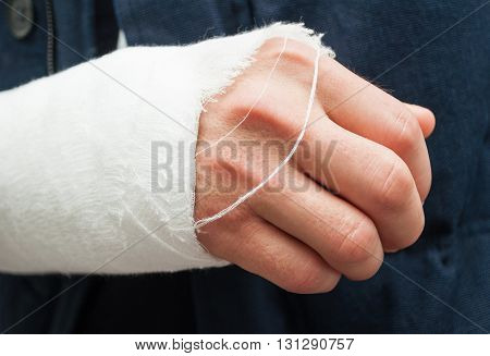 Closeup Hand And Fingers With White Bandage