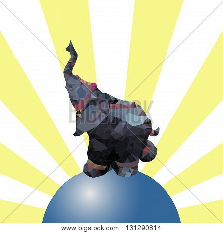 Low polygonal illustration. Elephant on the ball with the rays on background.