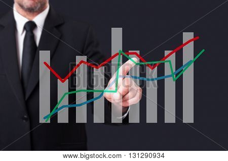 Business Manager Touching An Oscillating Financial Chart On Virtual Screen