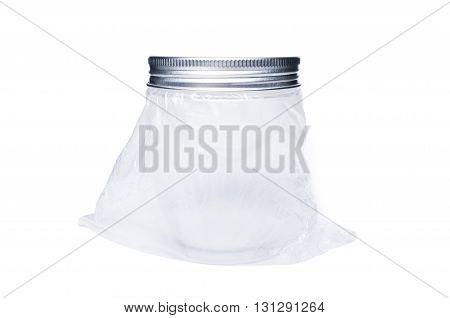 New Transparent Plastic Jar Or Container With Aluminum Lid