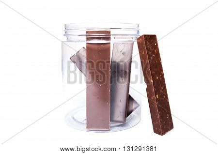 Chocolate Bars In Plastic Kitchen Storage Container Or Jar