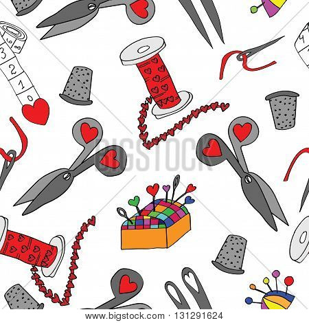 Seamless with isolated sewing tools set. Sewing and needlework vector illustration. Accessories and equipment or sewing.