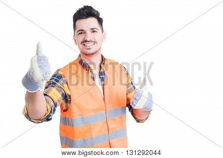 Cheerful Smiling Engineer Showing Thumbs Up With Both Hands