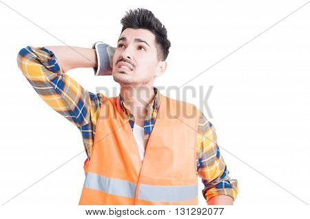 Beautiful Constructor Or Engineer In Workwear Looking Confused
