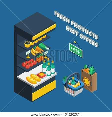 Isometric shelving icon in abstract shop and different accessories like shopping basket  pack and open plate vector illustration