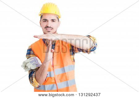 Handsome Smiling Engineer Making A Time Out Gesture With Hands