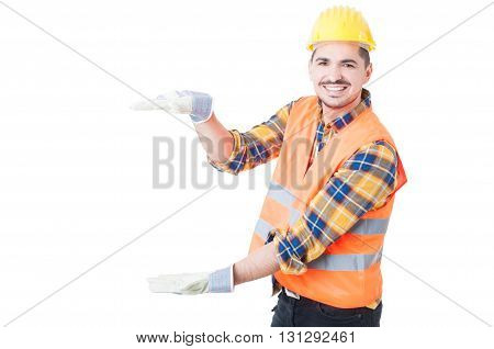 Attractive Engineer Holding Something Big While Acting Cheerful