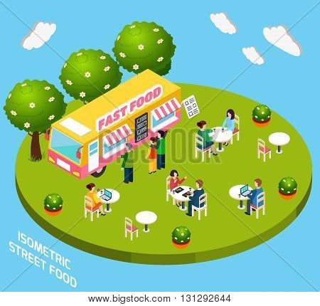 Street food cart ready to eat service selling hot dogs and pizza isometric poster abstract vector illustration