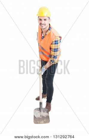 Cheerful Constructor In Protection Equipment With Metalic Shovel