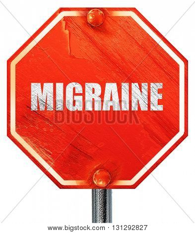 migraine, 3D rendering, a red stop sign