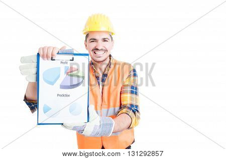 Cheerful Smiling Engineer With Marketing Financial Chart In His Hands