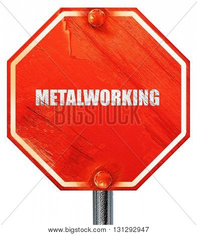 metalworking, 3D rendering, a red stop sign