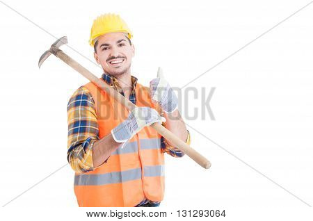 Handsome Engineer Showing Thumb Up Or Like Gesture Holding Shovel