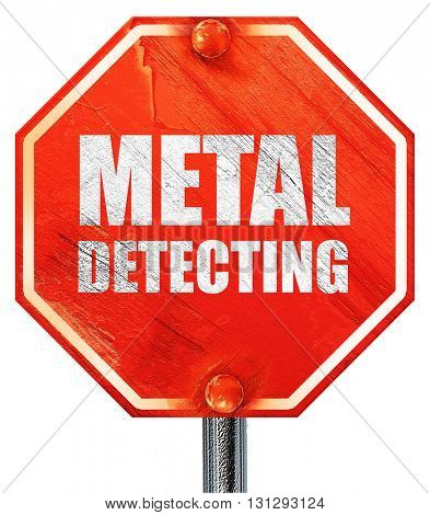 metal detecting, 3D rendering, a red stop sign