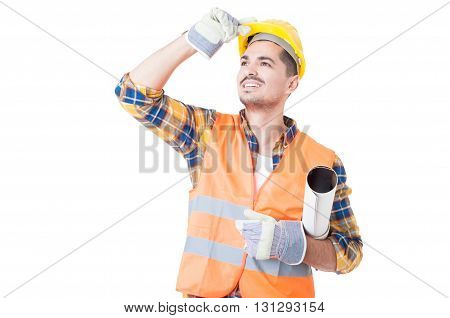Young Architect With Paper Roll Under His Arm Acting Joyful
