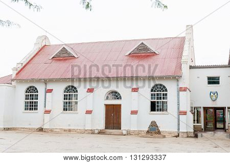 JANSENVILLE SOUTH AFRICA - MARCH 7 2016: Hall of the High School in Jansenville a small town in the heart of the mohair industry of the Eastern Cape Karoo region