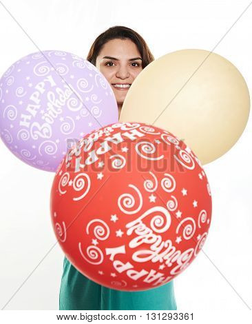 Girl With Colourfull Balloons